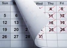 Primer del calendario Foto de archivo libre de regalías