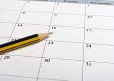 Primer del calendario Fotografía de archivo libre de regalías