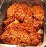 Primer del cerebro de la carne de vaca en un mercado fotografía de archivo libre de regalías