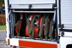 Primer del compresor de la bomba de agua del camión del bombero Fotografía de archivo