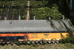Primer del cuchillo de la máquina segador de la vegetación del lago con las malas hierbas Imagen de archivo libre de regalías