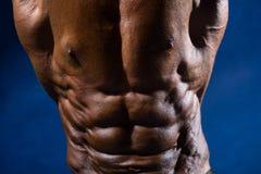 Primer del culturista de los músculos abdominales en un fondo azul Fotos de archivo