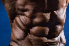 Primer del culturista de los músculos abdominales en un fondo azul Fotografía de archivo