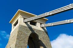 Primer del detalle de Clifton Suspension Bridge, Bristol, Avon, Inglaterra, Reino Unido Imagenes de archivo