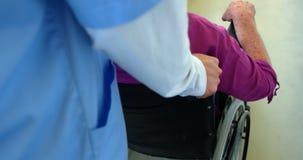 Primer del doctor de sexo femenino caucásico que empuja al paciente mayor en silla de ruedas en la clínica de reposo 4k almacen de video