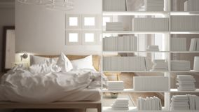 Primer del estante, primero plano que deja de lado, concepto de diseño interior, fondo escandinavo del dormitorio imagenes de archivo