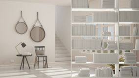 Primer del estante, primero plano que deja de lado, concepto de diseño interior, sala de estar escandinava moderna en el fondo ilustración del vector