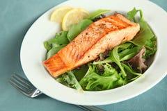 Primer del filete de color salmón asado a la parilla con las habas verdes Fotos de archivo libres de regalías