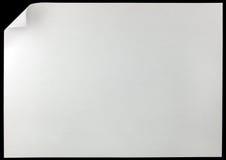 Primer del fondo del rizo de la página blanca, espacio horizontal de la copia, aislado en negro Foto de archivo