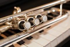 Primer del fragmento de la trompeta Fotografía de archivo