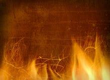 Primer del fuego y de las llamas en un fondo Fotografía de archivo