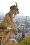 Primer del gargoyle en el Notre-Dame de Paris Foto de archivo libre de regalías