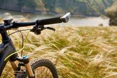 Primer del handlaber de la bicicleta de la montaña contra paisaje hermoso en la estación de verano Imágenes de archivo libres de regalías