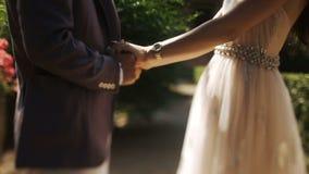Primer del hombre y de la mujer que se detienen manos firmemente almacen de metraje de vídeo