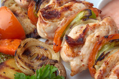 Primer del kebab del pollo Foto de archivo libre de regalías
