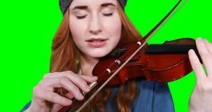 Primer del músico de sexo femenino que toca el violín almacen de video