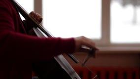 Primer del músico que toca el violoncelo almacen de video