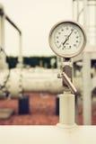 Primer del manómetro, presión de gas de medición fotografía de archivo libre de regalías