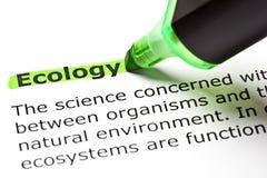 Primer del marcador del verde de la definición de la ecología Imagen de archivo libre de regalías
