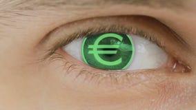 Primer del ojo con el texto del ordenador sobrepuesto Enfoca adentro el centr euro, Europa, EUR stock de ilustración
