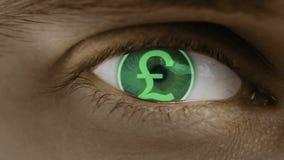 Primer del ojo con el texto del ordenador sobrepuesto Enfoca adentro el centr Libra británica, GBP stock de ilustración