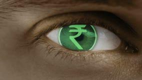Primer del ojo con el texto del ordenador sobrepuesto Enfoca adentro el centr Rupia india, INR ilustración del vector