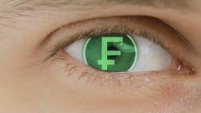 Primer del ojo con el texto del ordenador sobrepuesto Enfoca adentro el centr Suizo, franco, CHF libre illustration
