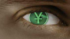 Primer del ojo con el texto del ordenador sobrepuesto Enfoca adentro el centr Yuan China stock de ilustración