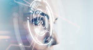 Primer del ojo de la mujer con efectos visuales, sobre el fondo blanco horizontal Imagenes de archivo