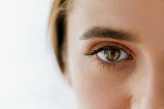Primer del ojo y de la ceja hermosos de la muchacha con maquillaje natural foto de archivo