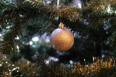 Primer del ornamento del oro en árbol Imagen de archivo