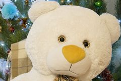 Primer del oso de peluche Juguete lindo sobre árbol de pino adornado La Navidad o regalo del Año Nuevo Imagenes de archivo