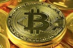Primer del pago mundial de Bitcoins fotografía de archivo libre de regalías
