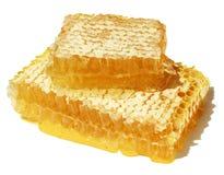 Primer del panal con descensos de la miel fresca. Imagenes de archivo
