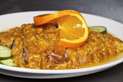 Primer del plato anaranjado chino del pato Fotos de archivo libres de regalías