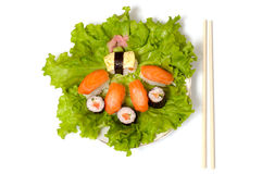 Primer del plato del sushi aislado fotos de archivo libres de regalías