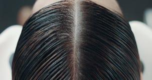 Primer del proceso de colorante del pelo de la mujer almacen de video