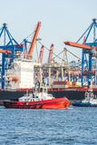 Primer del puerto de Hamburgo con la terminal de contenedores y el tirón en el primero plano foto de archivo