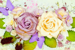Primer del ramo de papel en colores pastel de flores Fotos de archivo libres de regalías