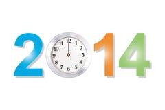 Primer 2014 del reloj del concepto del Año Nuevo aislado con las trayectorias de recortes. Fotos de archivo