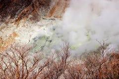 Primer del respiradero del azufre del valle de Owakudani en Japón fotos de archivo