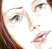 Primer del retrato de la muchacha - bosquejo stock de ilustración