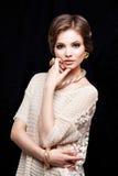 Primer del retrato de la mujer joven de la belleza Girl Face modelo hermoso Fotografía de archivo