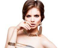 Primer del retrato de la mujer joven de la belleza Girl Face modelo hermoso Foto de archivo