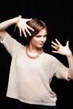 Primer del retrato de la mujer joven de la belleza Girl Face modelo hermoso Imágenes de archivo libres de regalías