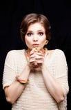 Primer del retrato de la mujer joven de la belleza Girl Face modelo hermoso Foto de archivo libre de regalías