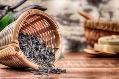 Primer del té negro seco Foto de archivo libre de regalías