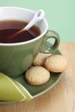 Primer del té y de las galletas Imagen de archivo libre de regalías