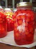 Primer del tarro de la fruta de la cereza Imagen de archivo libre de regalías