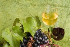 Primer del vino rojo y de la uva Foto de archivo libre de regalías